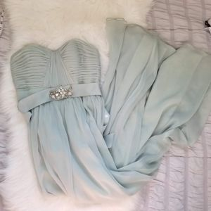 Adrianna Papell - Seafoam jewel long flowy dress